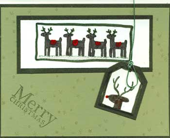 christmas card with stamped reindeer
