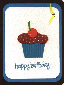 birthday card with cupcake punched shape