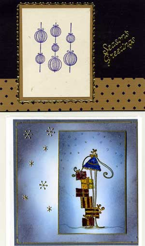 two stamped Christmas cards from members of the CST card exchange