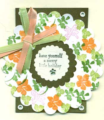 Christmas card with a stamped wreath
