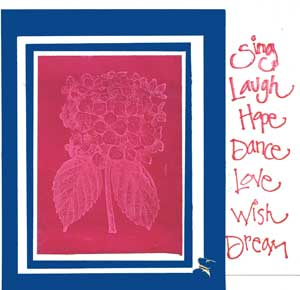greeting card using image created with a stamp and the resist technique