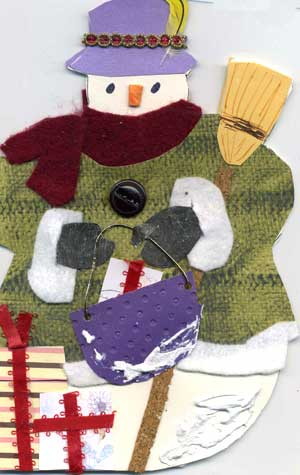 front view of snowman card
