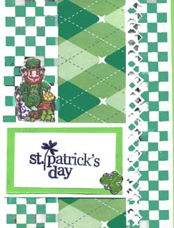 hand made St. Patricks Day card with ribbon and stickers