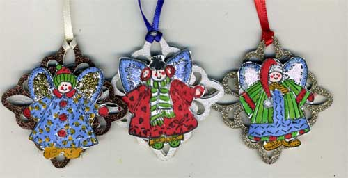 christmas tree ornaments with stamped angels