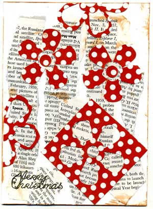 christmas card with shredded text and red punched flowers