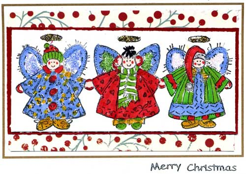 christmas card with stamped angels