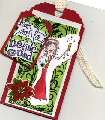 christmas tag with woman in santa dress saying dear santa define good