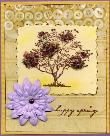 easter card with flowering tree trimmed with flower soft