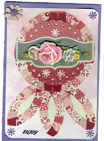 card made with scraps of scrapbook paper