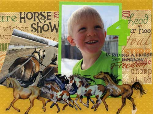 child's birthday card with photos and horse stickers