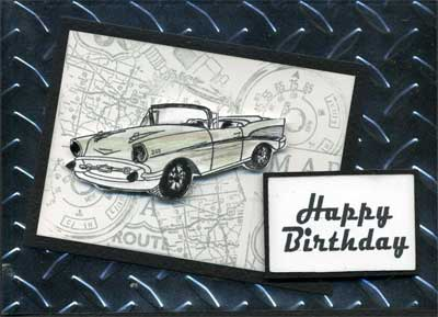 masculine birthday card with 3D car