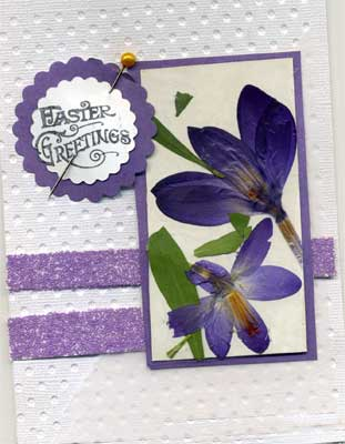 Easter card featuring pressed crocuses