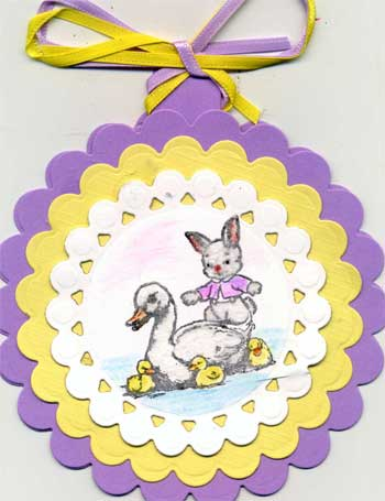 easter card with water colored bunnies and ducks