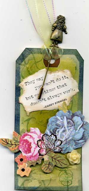 grunge tag with theme blossoms