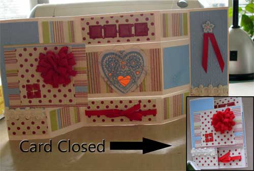 tri fold valentine card with heart strings