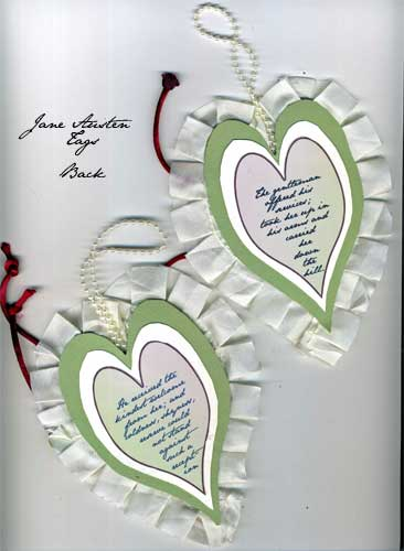heart shaped tags with Jane Austen text