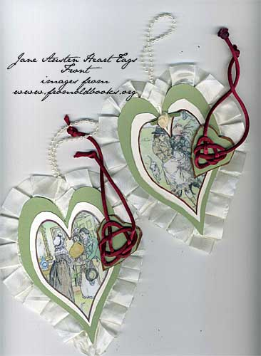 heart shaped tags with Jane Austen image and celtic heart knot