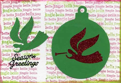 postcard with jingle bells theme