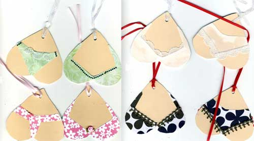 heart shaped tags with pictures of panties and bras