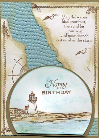 birthday card with stamped images that are colored with water color pencils