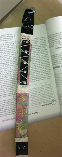bookmark made from altered leather belt