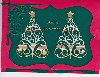 christmas card with green die cut