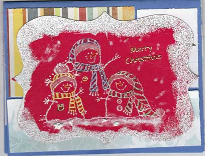 kid's christmas card with stamped snowmen