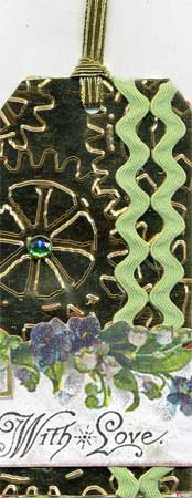 green and gold tag with embossing