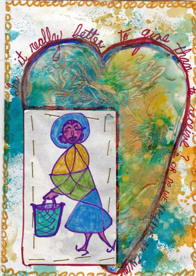 art journal page with textured heart and cartoon drawing of shopping woman