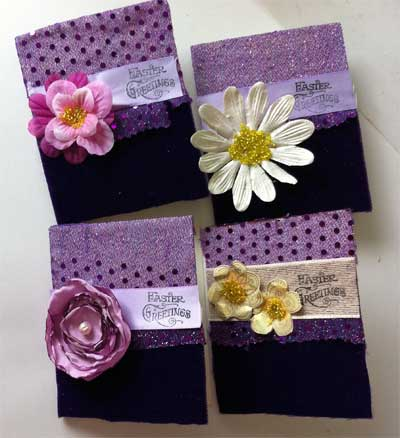 Easter cards made from scraps of the velvet and sheer fabric used to make a little girl's dress