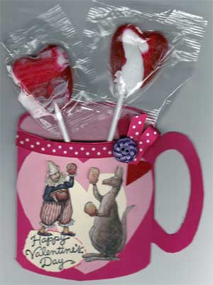 cup shaped valentine card for kids, with a lollipop inside