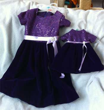 little girl's dress with matching dress for her dolly, made from velvet and sheer fabric