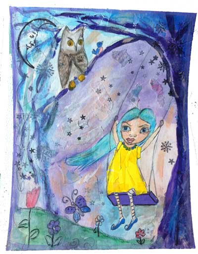 multimedia collage showing girl on swing