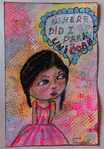 lifebook mixed media collage with painted girl