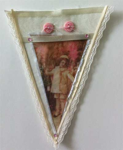 vintage style pennant for holiday banner with image transfer