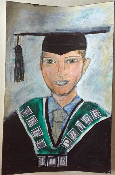 art journal portrait of a male high school graduate