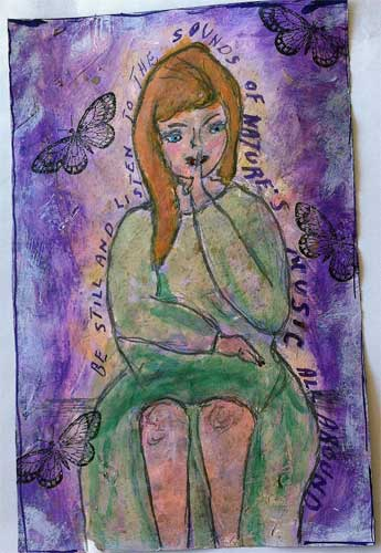 art journal page with girl listening to nature and holding her finger to her mouth to say shhh