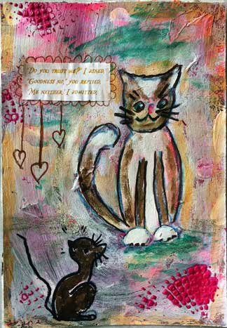 art journal page with cartoon cat and mouse