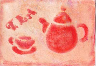 artist trading card in coral color showing teapot and cup made form stencil
