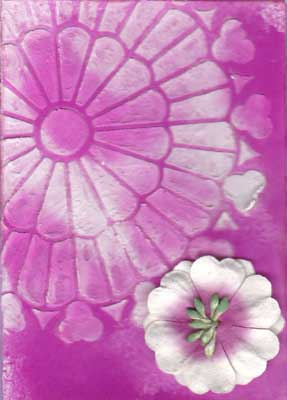 artist trading card in magenta showing a burst of colour