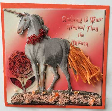 fat book or art card using orange unicorn