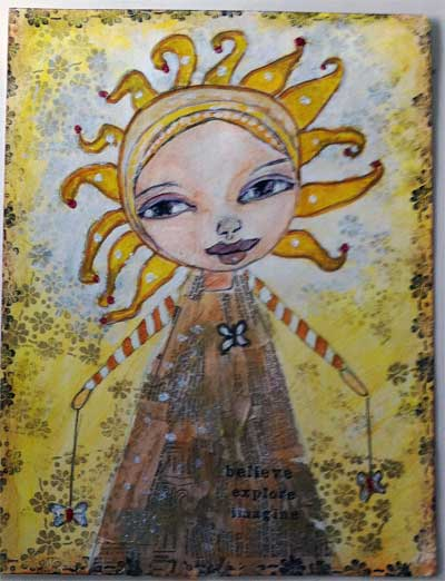 mixed media collage with sunshine girl