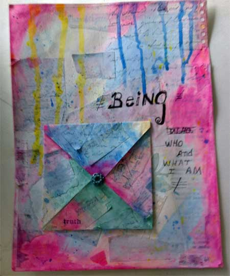mixed media collage with hand made envelope