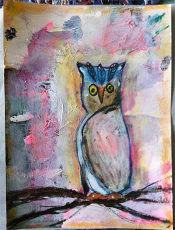 mixed media collage with owl