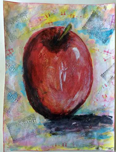 mixed media painting of an apple