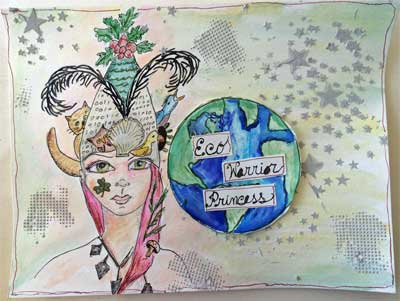 mixed media painting showing eco warrior princess