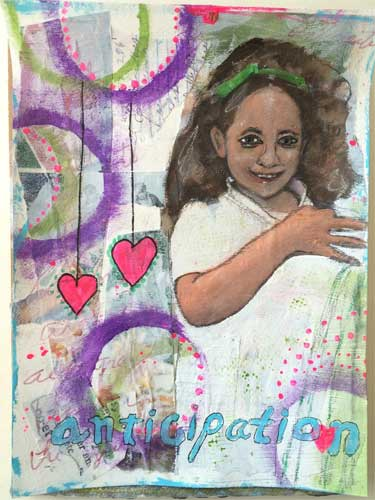 mixed media painting showing darked skinned girl
