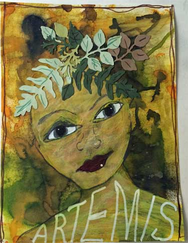 mixed media collage feature image of the goddess Diana