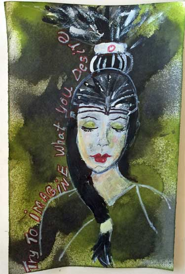 art journal page showing painting of the goddess Minerve