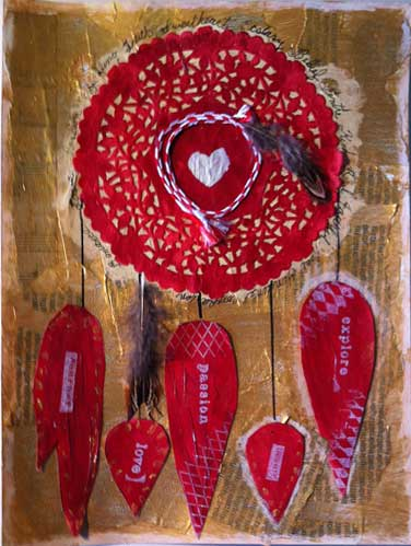 crimson red Valentine themed dreamcatcher